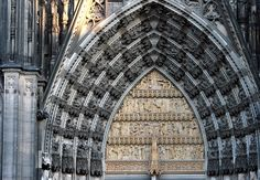 Neo-Gothic west portal of Cologne Cathedral, 19th century.