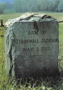 """Tombstone for Thomas """"Stonewall"""" Jackson's left arm. He was shot by friendly fire and his arm was amputated and buried in the battlefield. He survived but died 8 days later of pneumonia and is buried at Lexington, VA"""