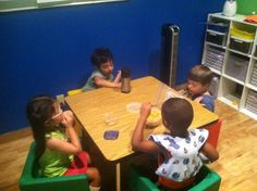 The kids in room 1 are now able to eat snack as a group. this helps them understand their space within this setting and eat only what is placed infront of them versus grabbing at other kids snacks! Success!