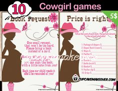 Planning a to give your new baby girl a big yee hah welcome? Complete your pink western themed baby shower party with a bundle of games that are fun for everyone.  DIY printable fun games. #cupcakemakeover