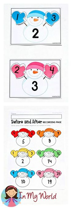 FREE Winter Math Centers for Kindergarten. Numbers before and after.
