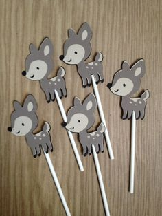 Set Of 12 Fawn Cupcake Toppers,Birthday,Baby Shower,Forest Friends,Fox,Fawn, Owl,Squirrel,Raccoon,Skunk,Hedgehog,Beaver