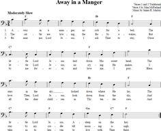 Away in a Manger Bass Clef Sheet Music