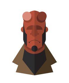 flat minimal superheroes Hellboy