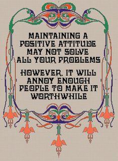 Positive Attitude PDF Cross stitch Pattern, Chart.