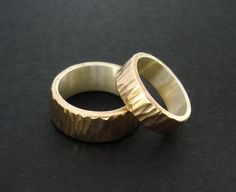 Hammered Bronze Rings with Silver Liner Custom by HandforgeMetal, $360.00