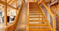 If the stairs aren't fun enough... slide! From Davis Frame https://www.davisframe.com/photo-gallery/the-great-white-barn/?utm_content=bufferf84bd&utm_medium=social&utm_source=pinterest.com&utm_campaign=buffer#gallery/07bda4d3a1ba05d4aed8ffc8b1de62d1/857