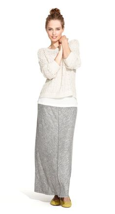 Our young lady looks lovely in a Cotton Textured Open Stitch Sweater and Jaspe Maxi Skirt.  However, it appears she put on the wrong shoes. They are called Embossed Croc Flynn Ballet Flats in Golden Sun color, but I think they meant Shapeless Foot-Wrappers Covered in Mustard.