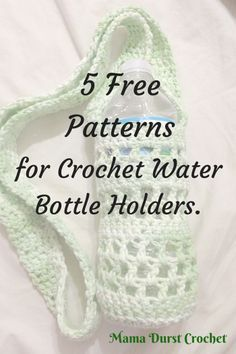 Crochet Purses Patterns 5 Free Patterns for Crochet Water Bottle Holders More - Hello! I wanted to share some patterns I have come across for the water bottle holders. They work up so quickly and are perfect for days at the park, zoo, co… Crochet Cozy, Crochet Gifts, Easy Crochet, Free Crochet, Crochet Granny, Crochet Hooks, Water Bottle Carrier, Water Bottle Holders, Bottle Bag