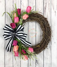 Excited to share this item from my shop: Beautiful Pink Tulip Wreath with . : Excited to share this item from my shop: Beautiful Pink Tulip Wreath with Black and White Striped Bow, Faux Tulip Wreath, Front Door Front Wreath, Spring Wreath, Summer Wreath Spring Door Wreaths, Easter Wreaths, Summer Wreath, Mesh Wreaths, Front Door Wreaths, Front Doors, Diy Wreath, Grapevine Wreath, Wreath Crafts
