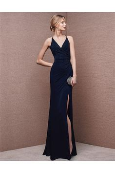 Sexy V Neck Backless High Slit Long Navy Blue Chiffon Evening Prom Dress Spaghetti Straps