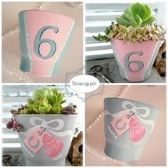 hand painted flower pot  (front & back)