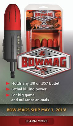 The Bow-Mag Arrowhead combines the stealth delivery of an arrow with the power of a .38 or .357 Magnum bullet, effectively turning your compound bow into an even deadlier, silent hunting tool.