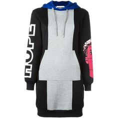 Moschino sweatshirt dress ($537) ❤ liked on Polyvore featuring dresses, vestidos, print dress, short dresses, multi-color dresses, sweatshirt dress and hooded sweatshirt dress