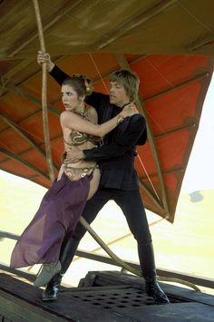 Princess Leia Organa and Luke Skywalker escape Jabba The Hutt's Sail Barge on Tantooine.