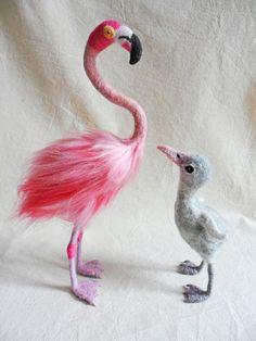 Needle Felted Miniature Flamingo Soft Sculpture Wading Bird Mother and Baby Bird…