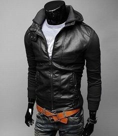 Motorcycle Jackets For Men Short sleeve knit hooded men washed leather Slim leather motorcycle Black Discount Online Shopping
