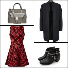 Red scuba flocke check skater #dress, Dark grey pocket front duster #coat, Grey contrast pocket metal corner tote #bag, Black chain buckle strap #ankleboots @newlookfashion
