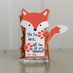 Free Printable Valentine: What Does the Fox Say? Non-candy valentine.  Easy to print and put together.  Filled with pretzels for more of a woodland feel and to be some salty to cut through the sweets!