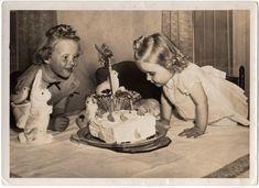 vintage birthday cake & paper mach rabbits