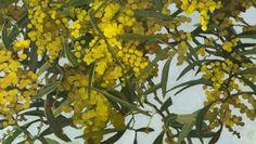 """Judith Sinnamon. """"ZIG ZAG WATTLE #2,""""  2013, oil on linen on board, 40 x 70 cm."""