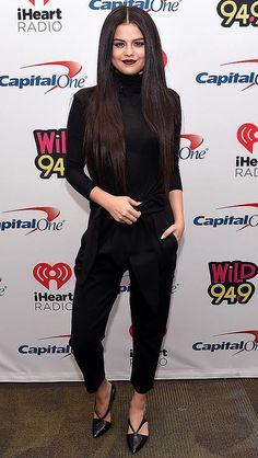 Selena Gomez in a black jumpsuit