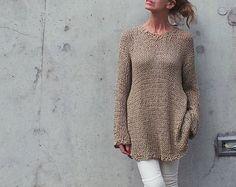 vestido suéter de algodón beige superior de las mujeres vestido hecho punto /