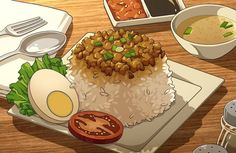 Food N, Food And Drink, Photographie Indie, Anime Gifs, Food Sketch, Food Cartoon, Eat This, Japon Illustration, Food Painting