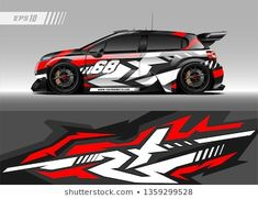 Graphic abstract stripe racing background kit designs for wrap vehicle, race car, rally, adventure and livery Car Stickers, Car Decals, Vinyl Decals, Design Vector, Cargo Van, Car Wrap, Race Cars, Concept Auto, Background Designs