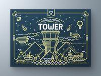 Tower greeting card large