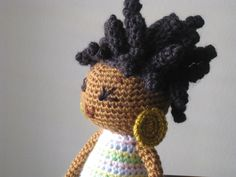 Crochet African Princess and the Pea Doll in Spring Colors Plush Dreads Locks Natural Black Hair Stuffed Toy Baby Girl Gift MADE TO ORDER. $48.00, via Etsy.