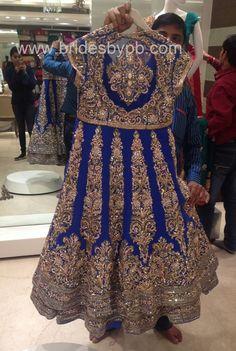 Royal Blue Jacket Lehenga customised by Bridesbypb.com