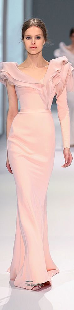 Ralph & Russo ~ Couture Blush One Sleeve Fitted Gown w Ruffle Trim Neckline 2015