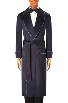 0e3a7fc37f Navy   Blue Unlined Cashmere Dressing Gown