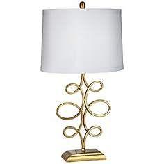 Nadia Gold Leaf Scroll Table Lamp