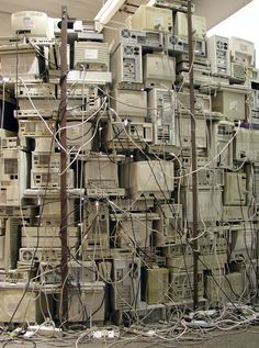 This gives me mixed feelings. On one hand, I'm excited to see all those electronics. On the other hand, I am really frustrated with the lack of cord organization. SandySmith's Art.