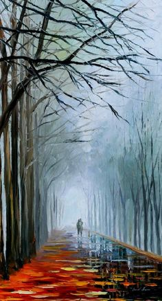 "FOGGY PATH -  PALETTE KNIFE Oil Painting On Canvas By Leonid Afremov -  Size 20"" x 36"""