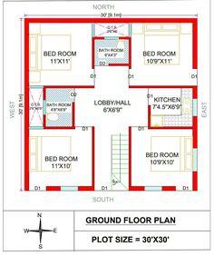 2bhk House Plan, Three Bedroom House Plan, Model House Plan, House Layout Plans, New House Plans, Bungalow Floor Plans, Small House Floor Plans, 900 Sq Ft House, 30x50 House Plans