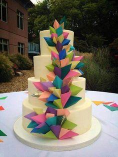 Gorgeous modern cake three dimensional cake rainbow...gay pride wedding cakes