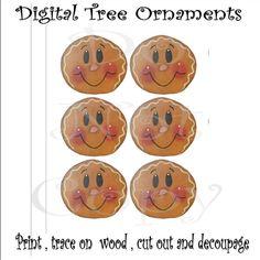 DIY 6 Gingerbread Ornaments on a Printable Decoupage Sheet. $1.00, via Etsy.