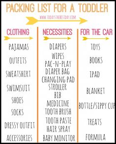 How to Travel with a Toddler - Packing List for a Toddler! A Free Printable for our next vacation!