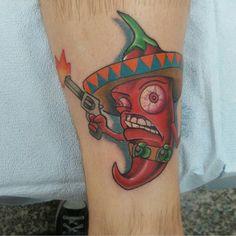 Chili - Lon Bennett @tatt2d2 - 729 Granby St Norfolk VA 23510 #tattoo #tattooartist #tattwho #ink #inked #inkedup #inklife #inkedlife #inklifestyle #inkedlifestyle #tattoos #tattooart #artist #tattoosnob #tatuador #tatted #tattedup #chili #chilipepper #sombrero #gun #norfolk #va #virginia