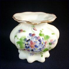 1930s Consolidated Opal Glass Vase Handpainted Violets