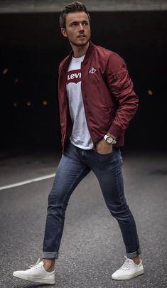 - with a casual fall outfit with a maroon bomber gray levi's t-shirt slim cut denim no show socks white sneakers watch Stylish Mens Outfits, Casual Fall Outfits, Men Casual, Summer Outfits Men, Men Summer, Casual Styles, Mens Fashion, Fashion Outfits, Fashion Trends