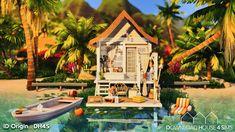 Tiny Beach House, Small Beach Houses, Minecraft Beach House, Minecraft Houses, Shack House, Sims 4 Kitchen, Sims 4 House Building, The Sims 4 Packs, Sims 4 House Design
