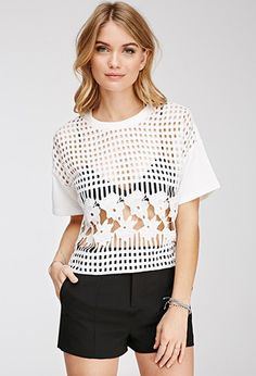 Contemporary Windowpane Floral Crochet Blouse | Forever 21 - 2000078956