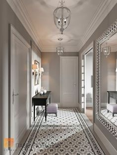 Incredible summer entrance hall interior design projects – Page 7 Hallway Decorating, Entryway Decor, Decorating Ideas, Hall Interior Design, Design Bedroom, Bedroom Ideas, Tiled Hallway, Hall Flooring, Flur Design