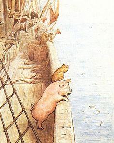 beatrix potter | Tumblr...Freunde auf der Flucht...der Kater vor Mäusen und das Schwein vor der Sau!