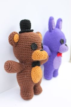 Crochet Pattern: Five Nights at Freddy& Friends Amigurumi Crochet Round, Double Crochet, Single Crochet, Amigurumi Patterns, Crochet Patterns, Dou Dou, Fnaf Drawings, Thread Painting, Freddy S