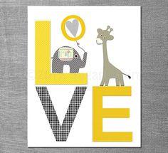 Yellow and grey animals Nursery Art Print Set Kids por SugarInspire